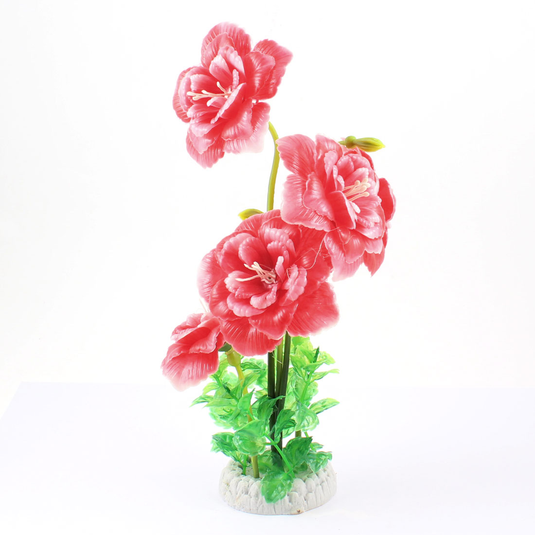 "10"" Hign Red Rose Flower Green Leaf Plastic Plant Decor for Aquarium"