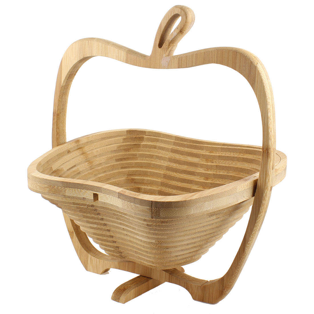 Flexible Apple Shape Wood Carving Artificial Wooden Fruit Basket Holder