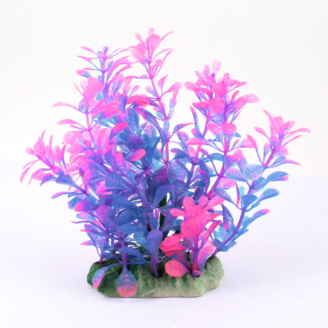 "Aquarium Ceramic Base 5.5"" Height Aquatic Fuchsia Blue Artificial Plant Grass"