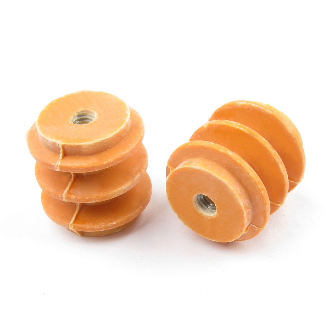 660V 5mm Thread 28mm Height Orange Busbar Enhanced Insulator Supporter 2pcs