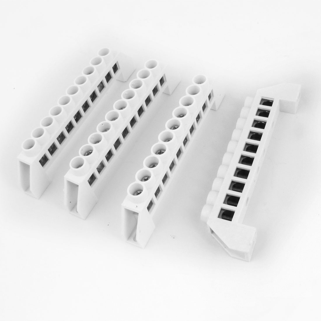 10 Way Bridge Design Copper Tone Terminals Block Connector White 4PCS