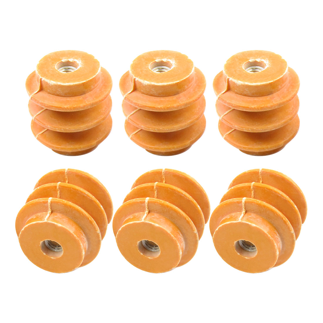 6 Pcs 50mm Height 8mm Thread Dia 660V Busbar Enhanced Insulator Supporter