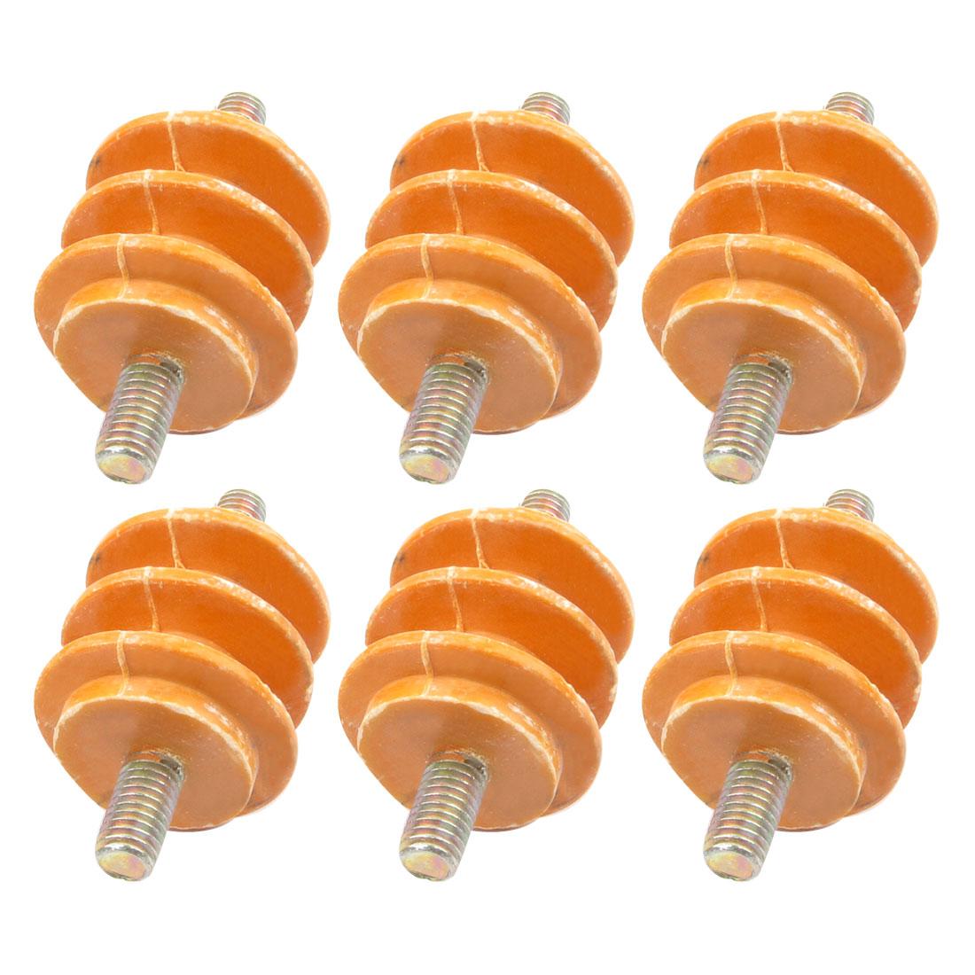 "6 Pieces 660V Water Resistance Busbar Insulator Orange 1.4"" x 1.3"" x 5/16"""