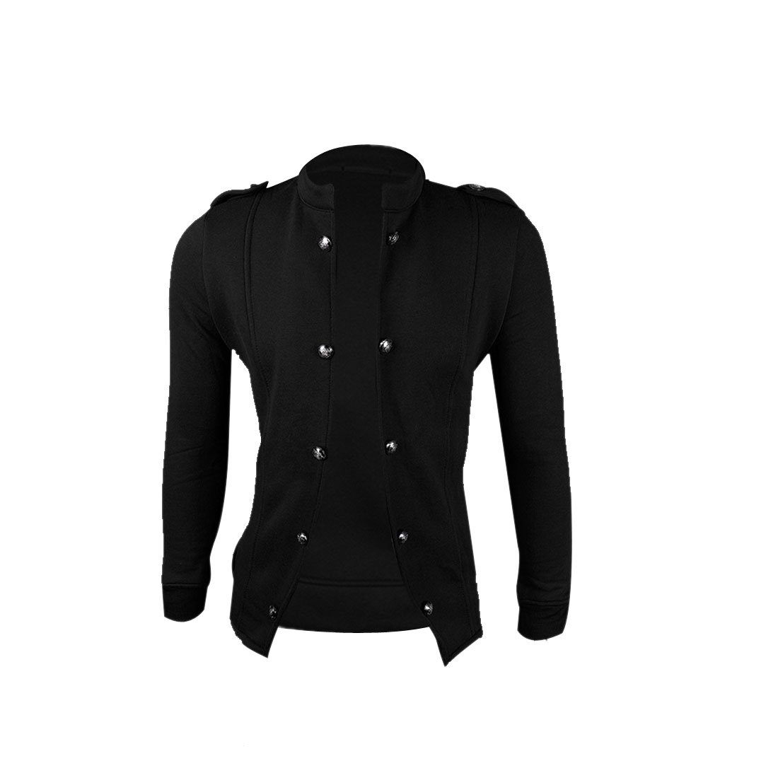 Men Black M Stand Collar Slim Fit Long Sleeve Stylish Fashion Top Jacket