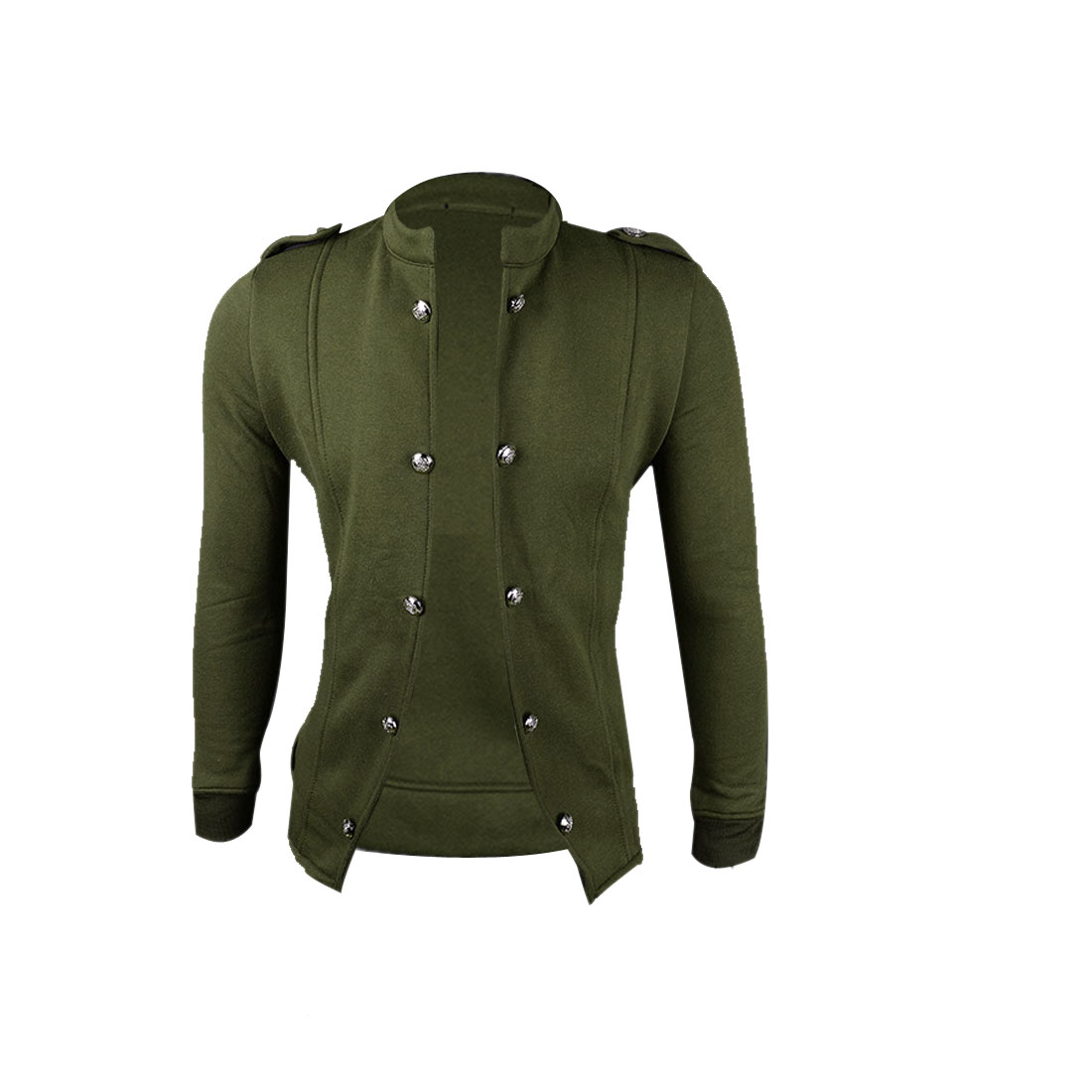 Men M Olive Green Long Sleeve Stand Collar Solid Color Slim Fit Jacket