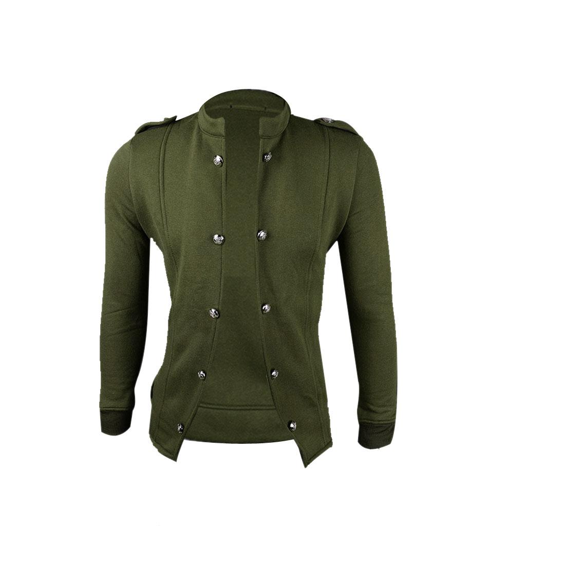 Men M Olive Green Long Sleeve Stand Collar Solid Color Slim Fit Jacket