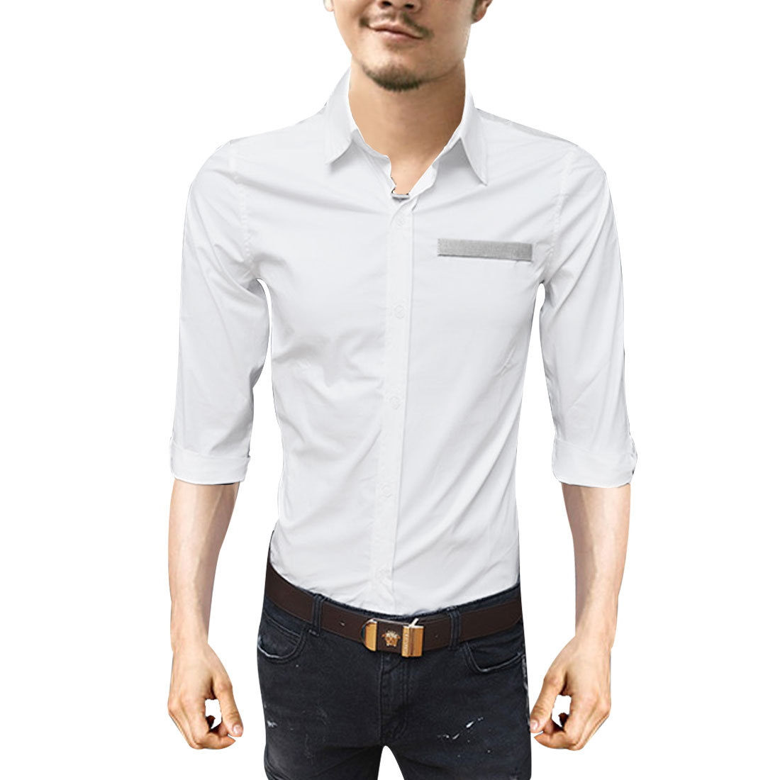 Men White M Point Collar Long Sleeve Single Breasted Slim Fit Top Shirt