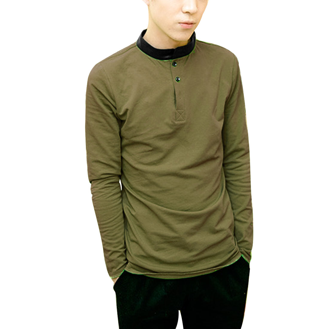 Men S Khaki Mock Neck Stretchy Style Long Sleeve Skinny Fit Casual Shirt