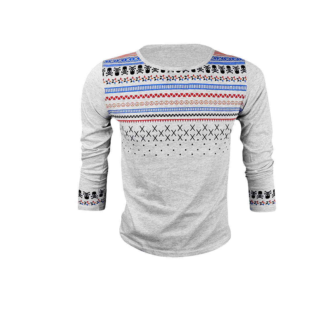 Men Round Neck Skull Printed Casual Long Sleeve Light Gray M T-Shirt