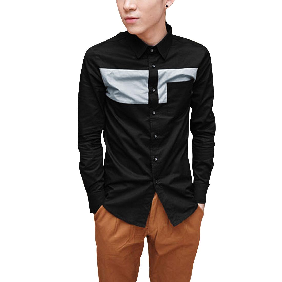 Men S Black Long Sleeve Point Collar Design Casual Button Closure Shirt