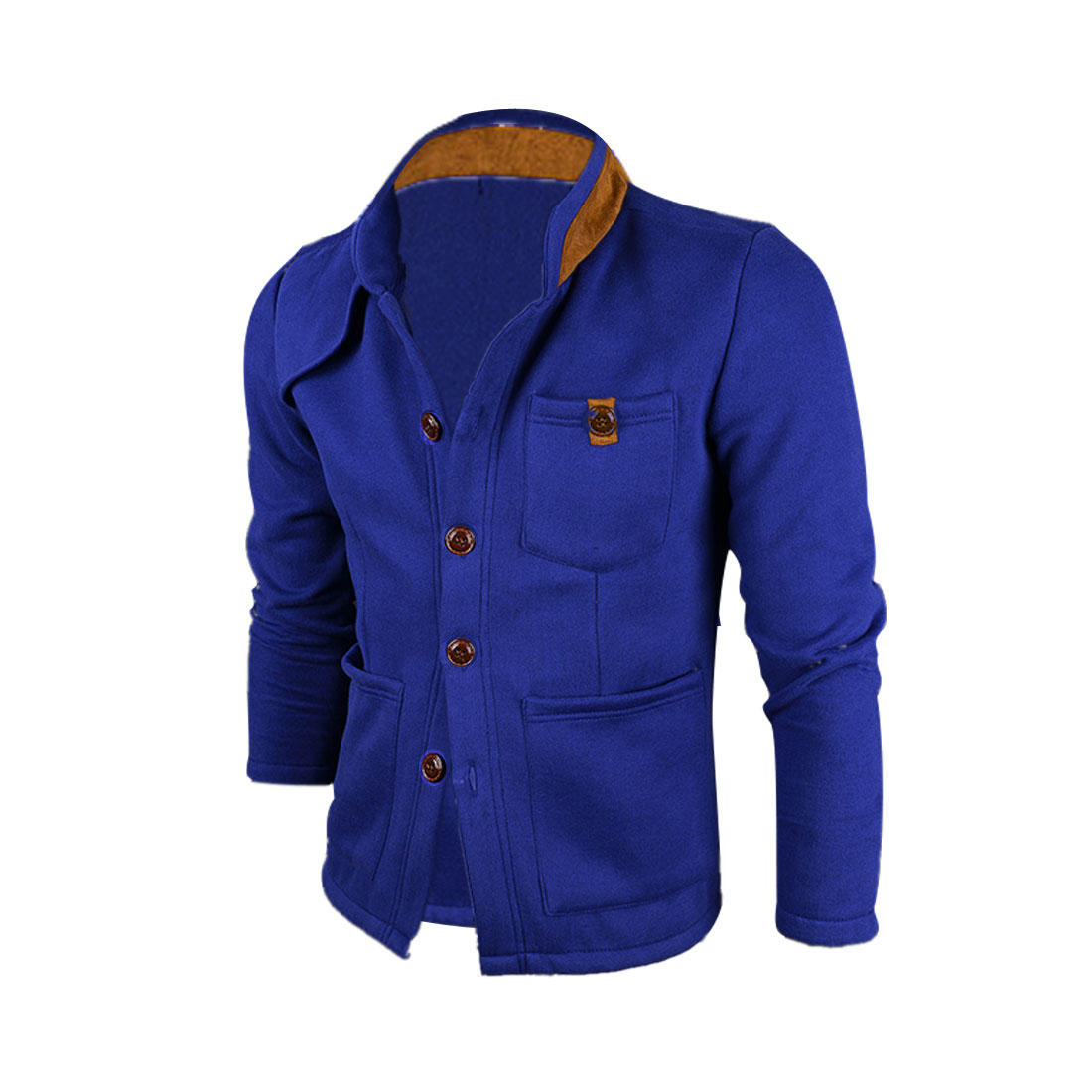 Men M Blue Stand Collar Single Breasted Long Sleeve Slim Fit Jacket