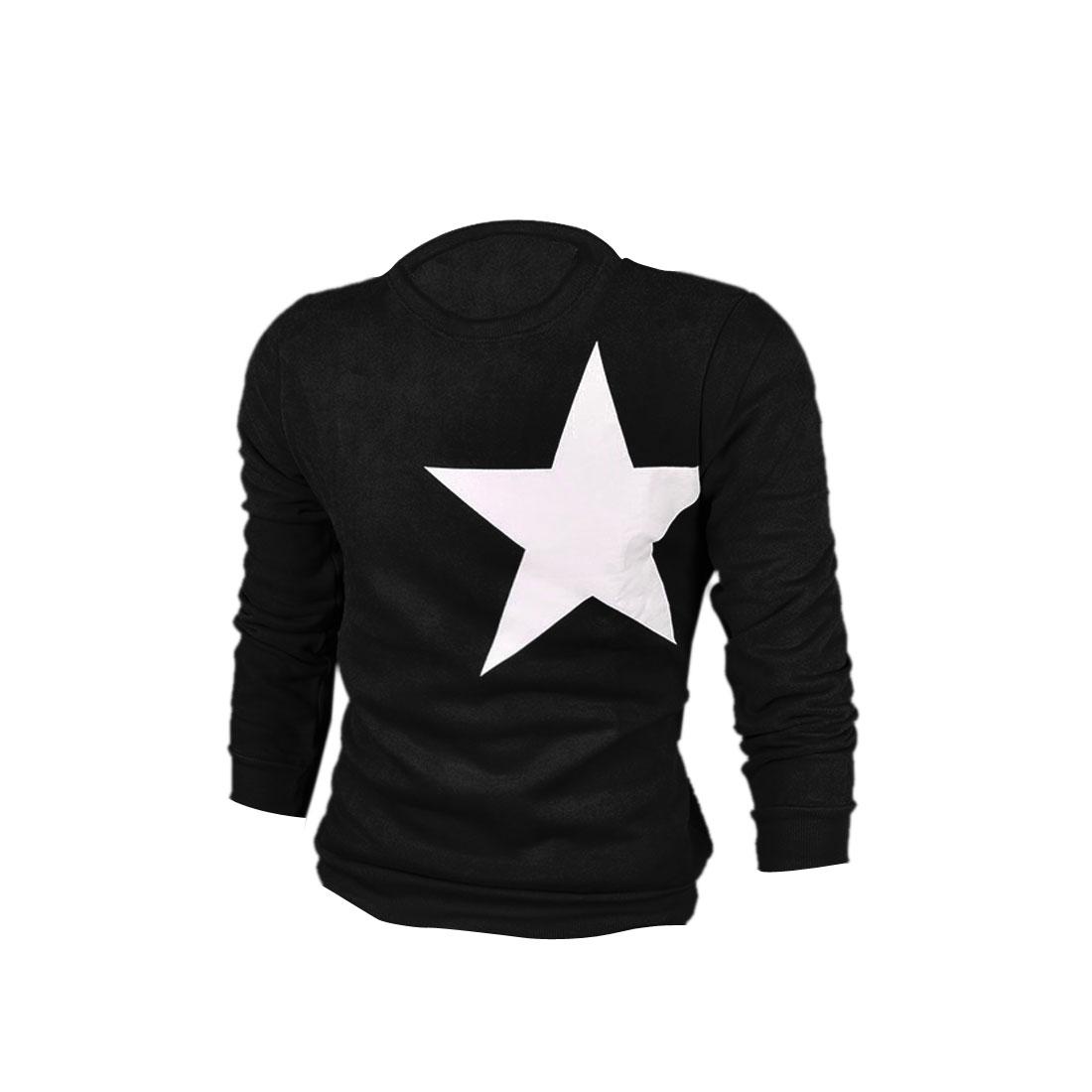 Mens New Fashion Round Neck Long Sleeve Star Pattern Black Sweatshirt L