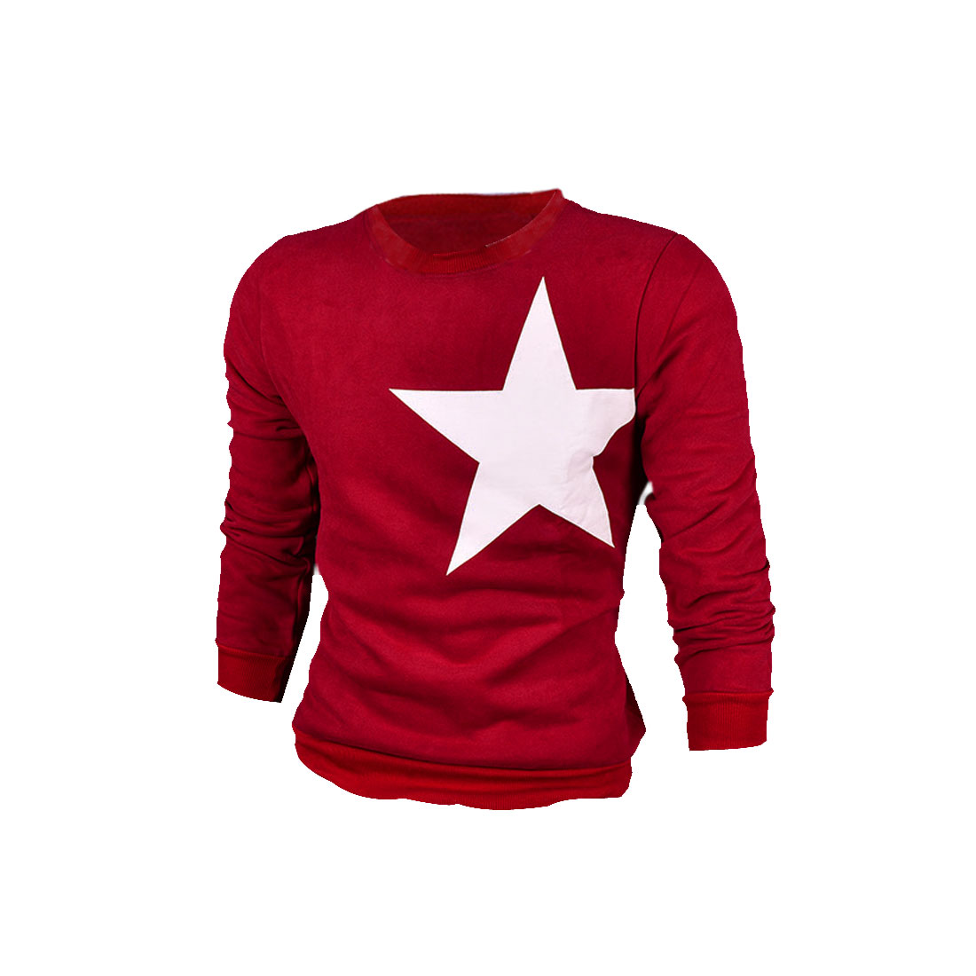 Man Stylish Red Color Star Pattern Back and Front Autumn Sweatshirt L