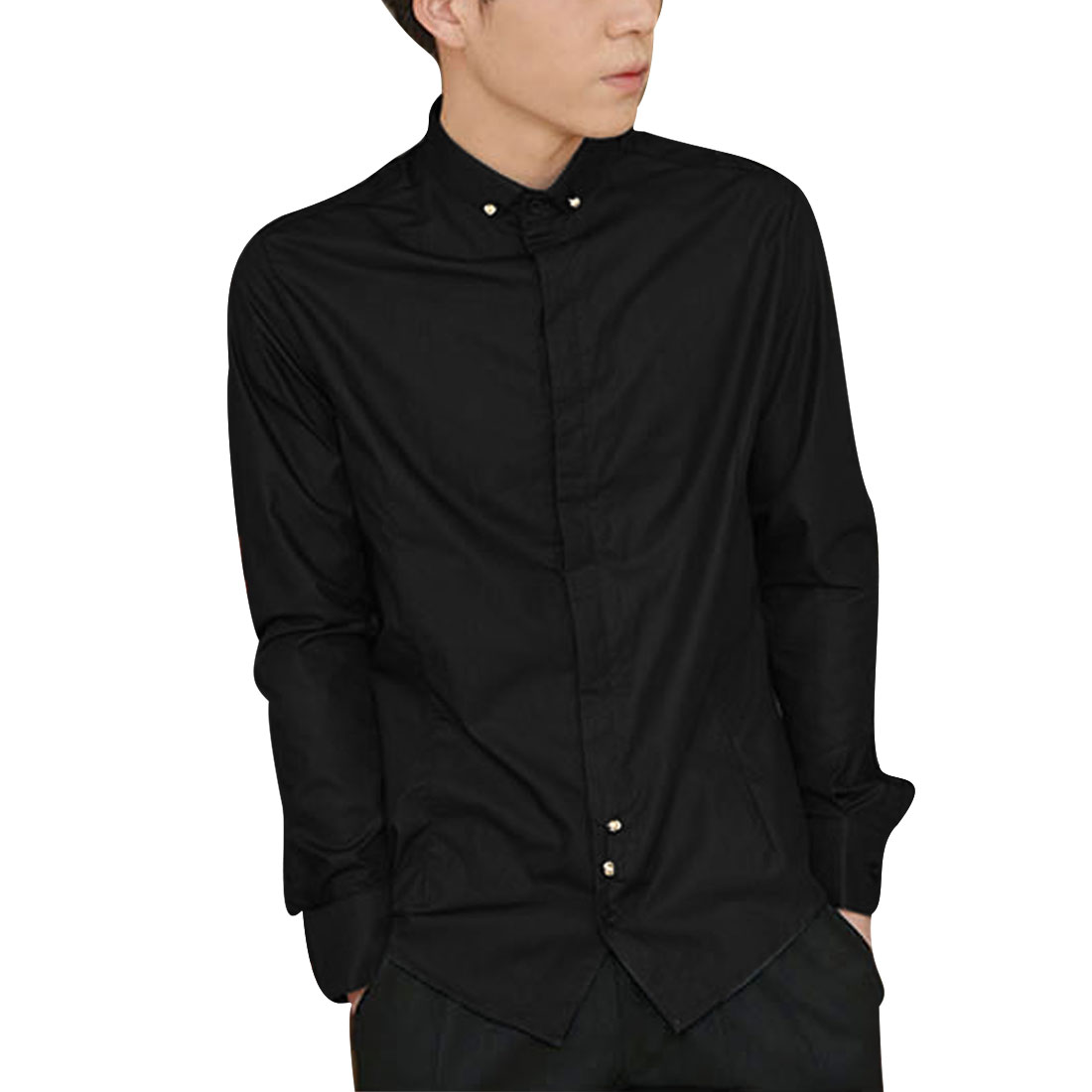 Men M Black Point Collar Single Breasted Design Solid Color Round Hem Shirt