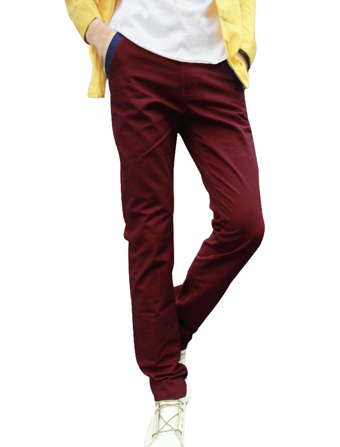 Mens Chic Zipper Fly One-Button Front Demin Splice Detail Burgundy Pants W32