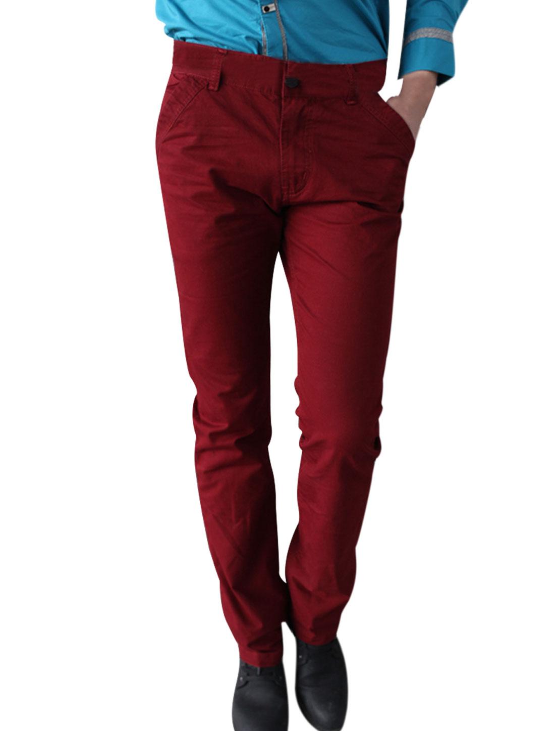 Men Waistband Loop Spring Wearing Pants Burgundy W31