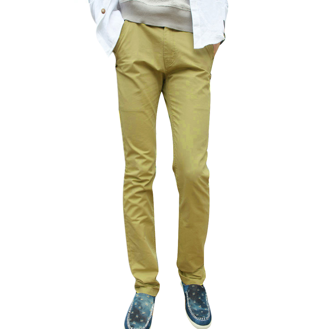 Man Chic Light Moss Color Belt Loop Design Slim Fit Casual Long Pants W33