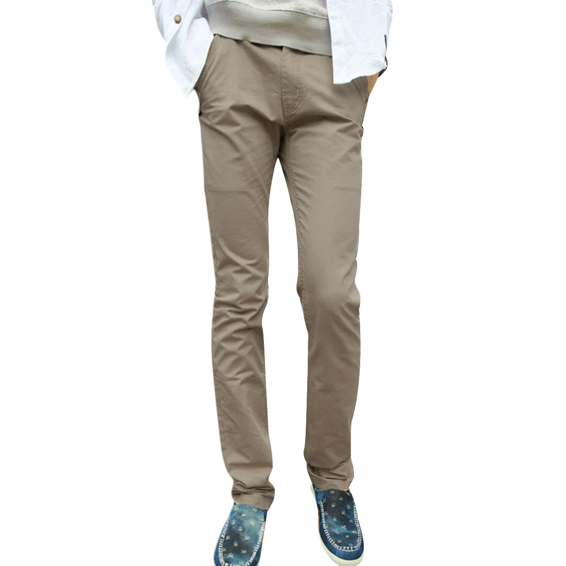 Mens NEW Fashion Zipper Fly Hip Pockets Design Dark Beige Pants W33