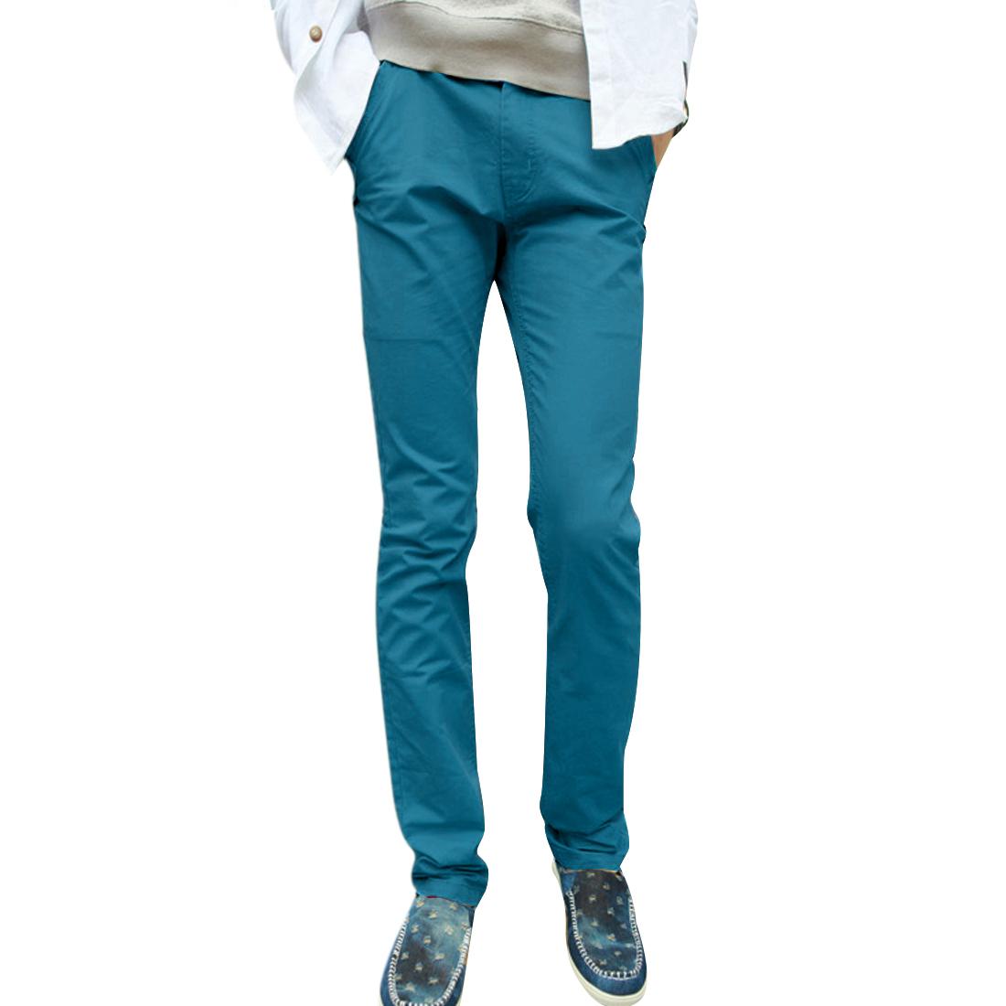 Mans NEW Teal Color Slim Fit Slant Side Pockets Design Casual Pants W33