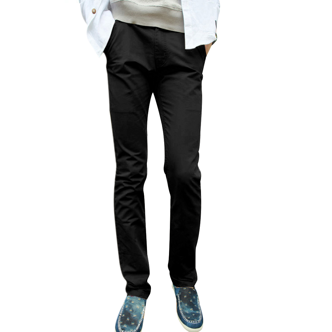 Mens Chic Zipper Fly Front Hip Pockets Design Black Casual Long Pants W33