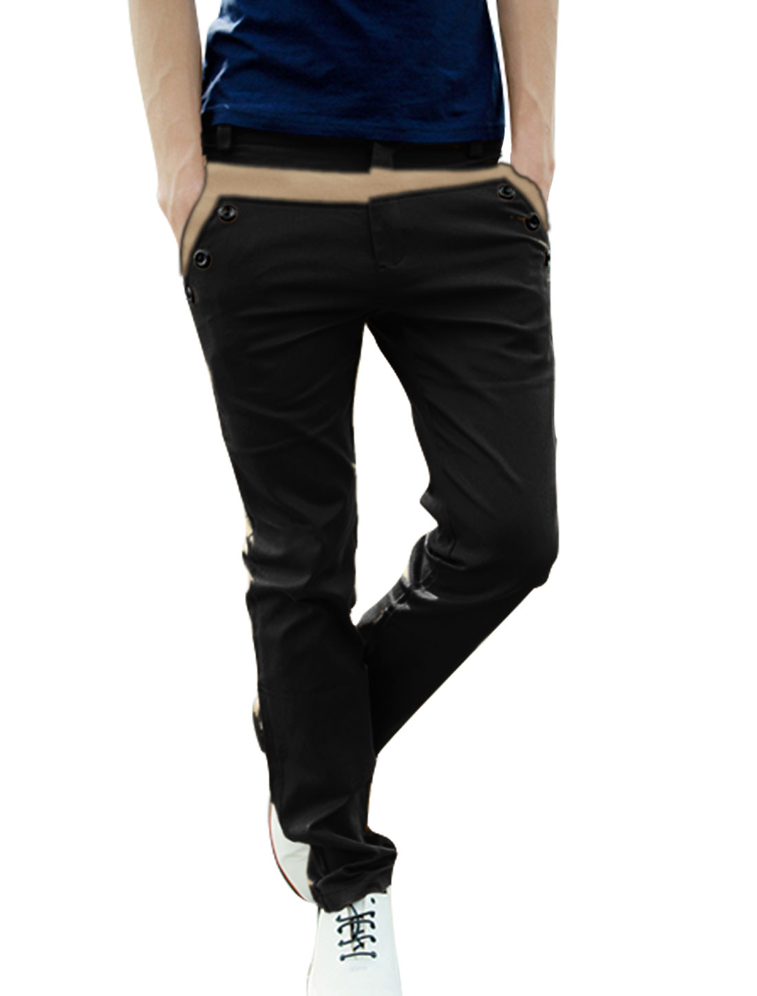 Men W32 Black Belt Loop Zipper Fly Front Button Closure Pants Trousers