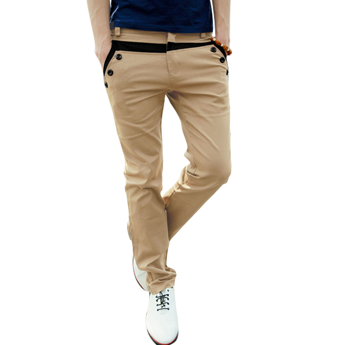 Men W32 Khaki Button Closure Belt Loops Hidden Zipper Slim Fit Casual Pants