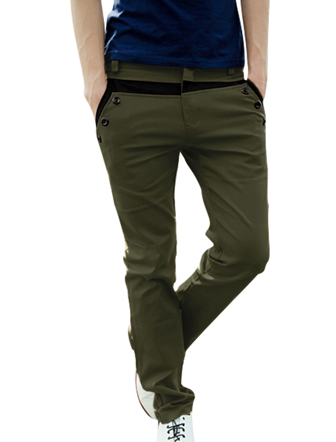 W32 Olive Green Slant Pockets Back Pockets Concealed Zipper Slim Fit Pants