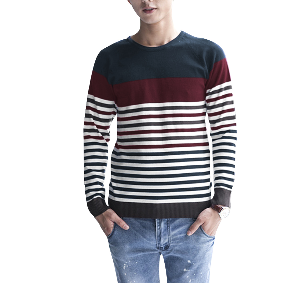 Men Round Neck Long Sleeve Color Block Knitwear Burgundy Navy Blue S
