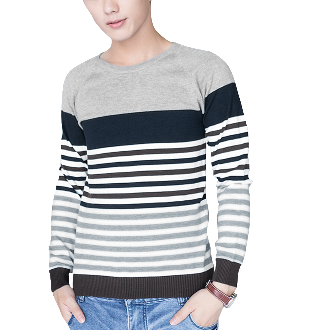 Men Pullover Long Sleeve Stripes Knitwear Navy Blue Light Gray S