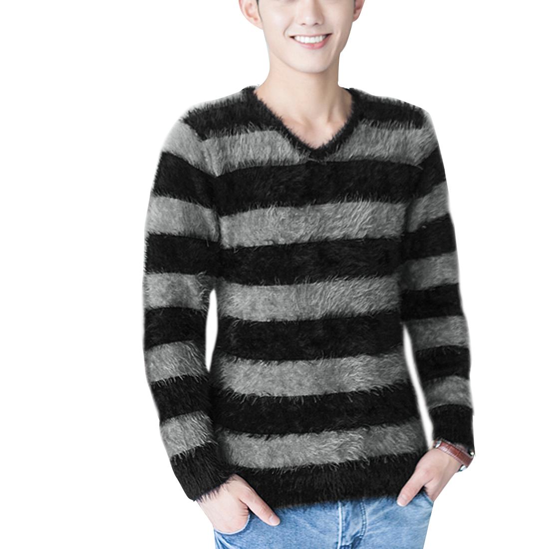 Men Pullover Long Sleeve Stripes Sweater Black Gray S