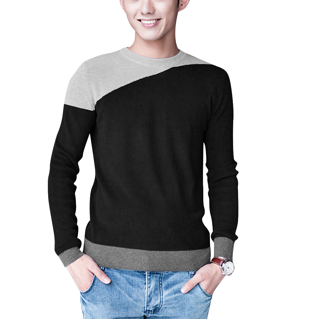 Men Round Neck Long Sleeve Pullover Panel Black Casual Knitted Shirt M