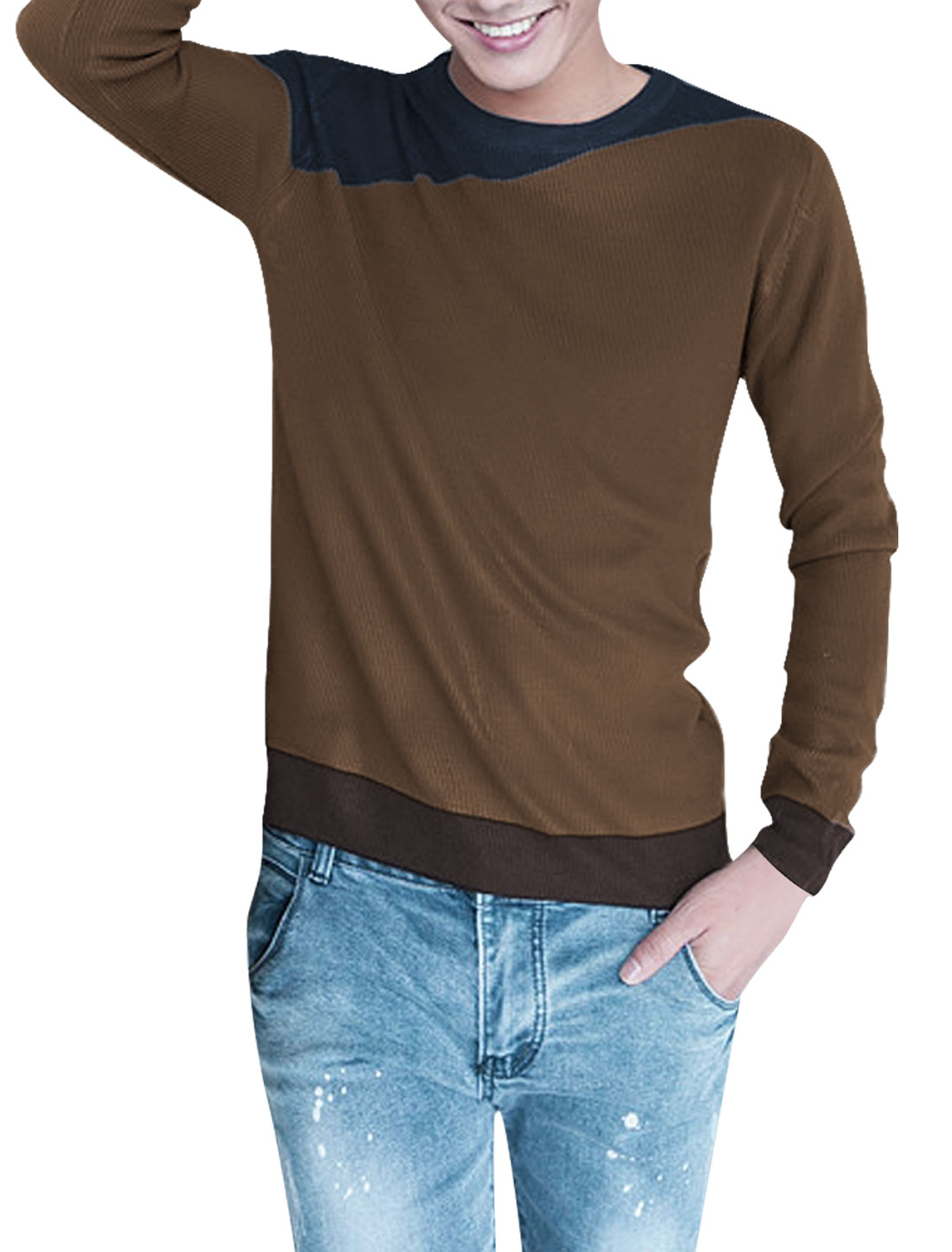 Men Round Neck Stylish Long Sleeve Pullover Coffee Knitted Shirt M
