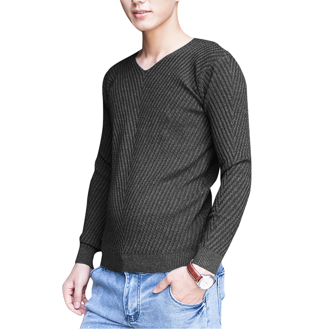 Men Pullover Long Sleeve Soft Autumn Sweater Dark Gray S