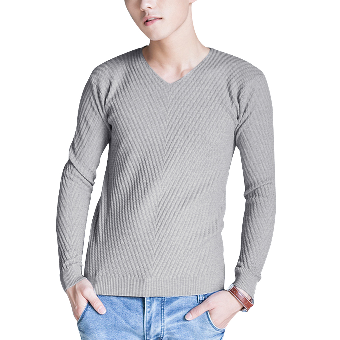 Men V Neck Pullover Spring Fall Sweater Light Gray S