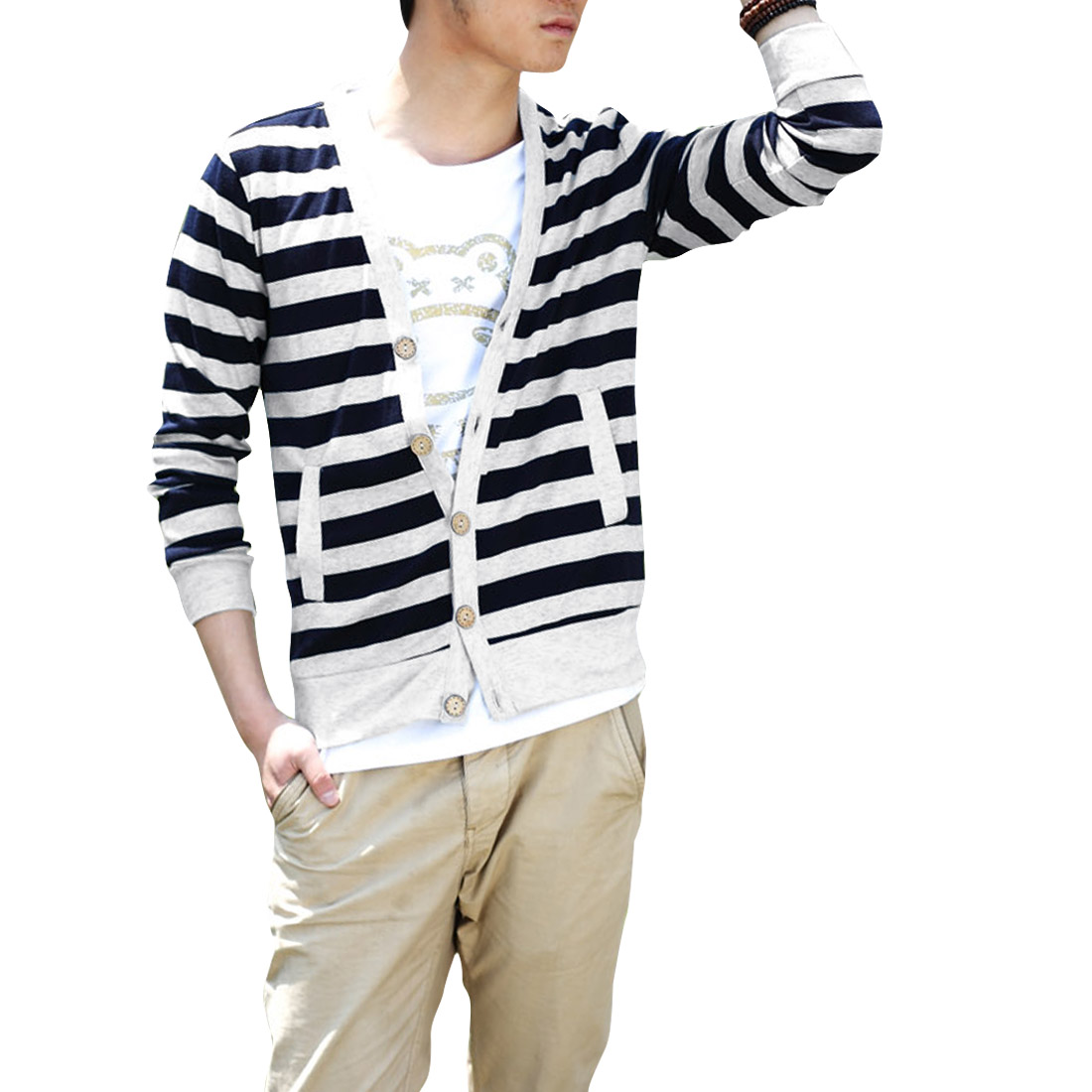 Men V Neck Button Up Stripes Knitwear Navy Blue Light Gray M