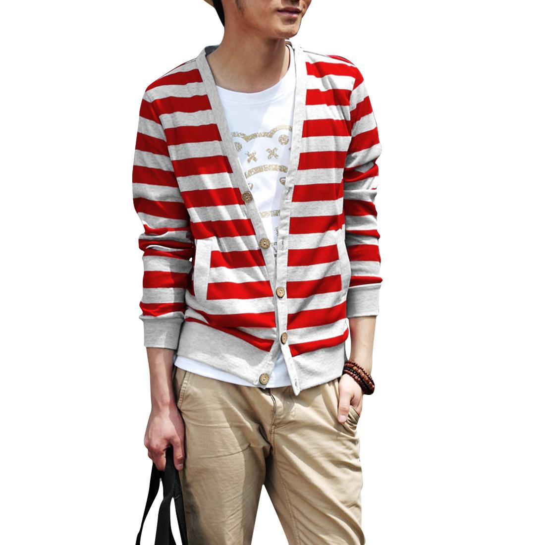 Men V Neck Long Sleeve Casual Knitwear Red Light Gray M