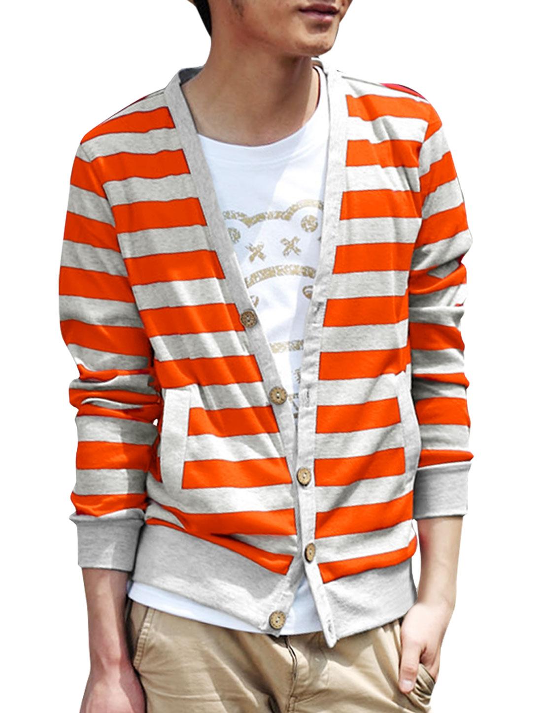 Men Single Breasted V Neck Stripes Knitwear Orange Light Gray M