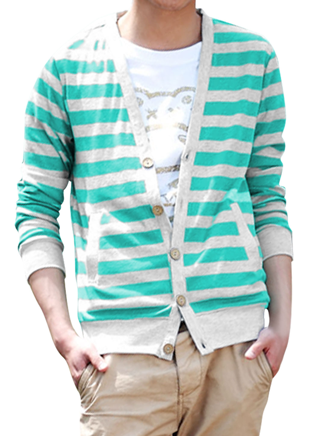 Men Button Front Long Sleeve Leisure Knitwear Aqua Light Gray M