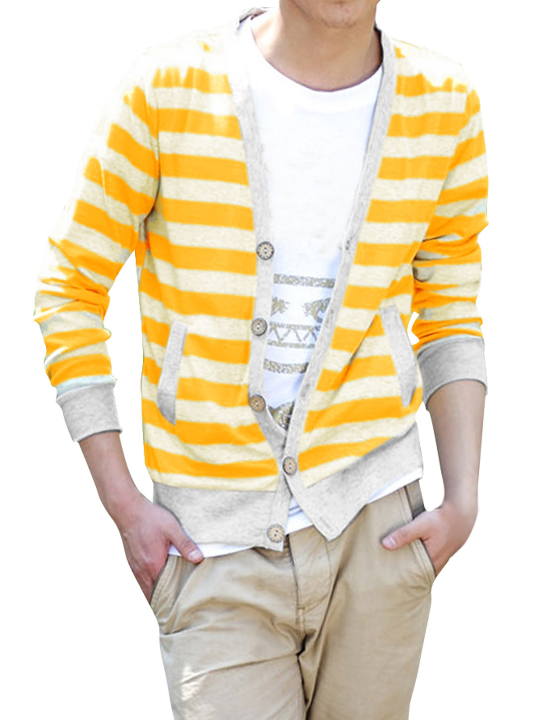 Men Button Front Long Sleeve Knitwear Yellow Light Gray M