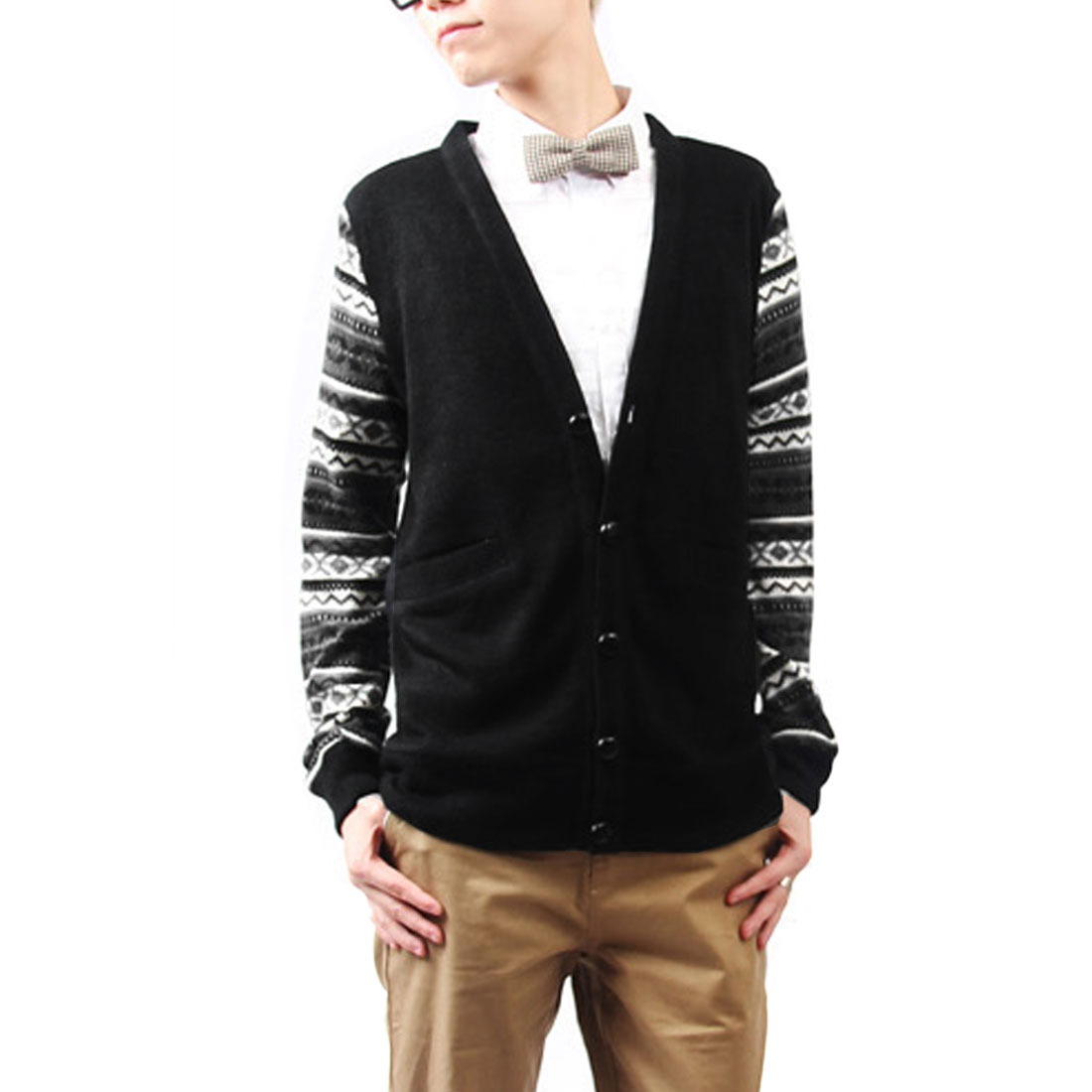 Men V Neck Button Up Geometric Pattern Cardigan Black White S