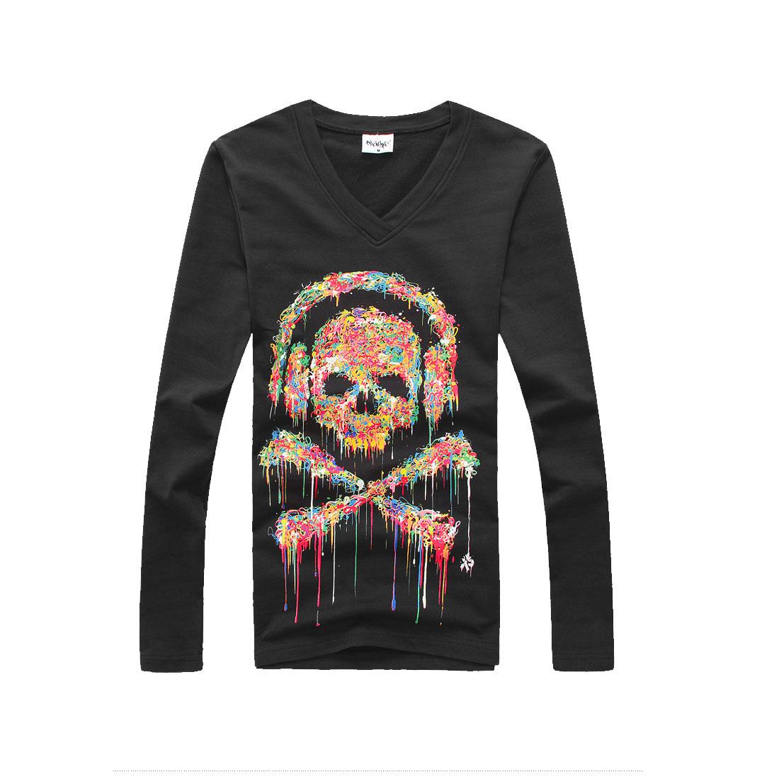 Men V Neck Long Sleeve Skull Prints Leisure Soft Pullover Dark Gray T-Shirt S