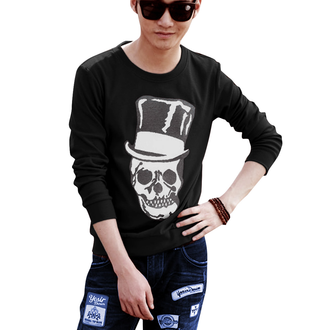 Men Round Neck Pullover Skull Printed Stretchy Black L T-Shirt