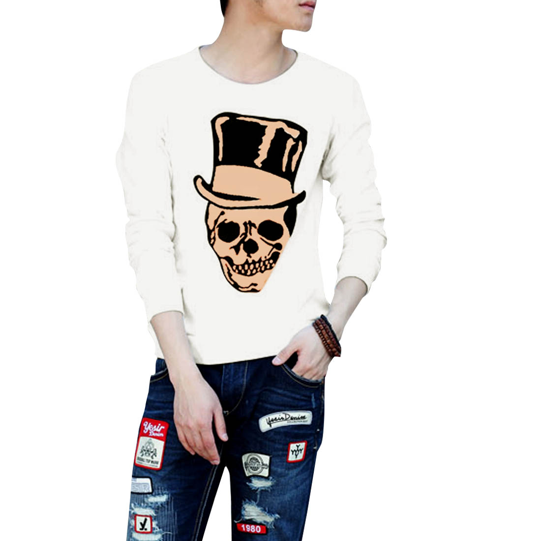 Men Pullover Round Neck Skull Printing Stretchy Good Quality White Tee L