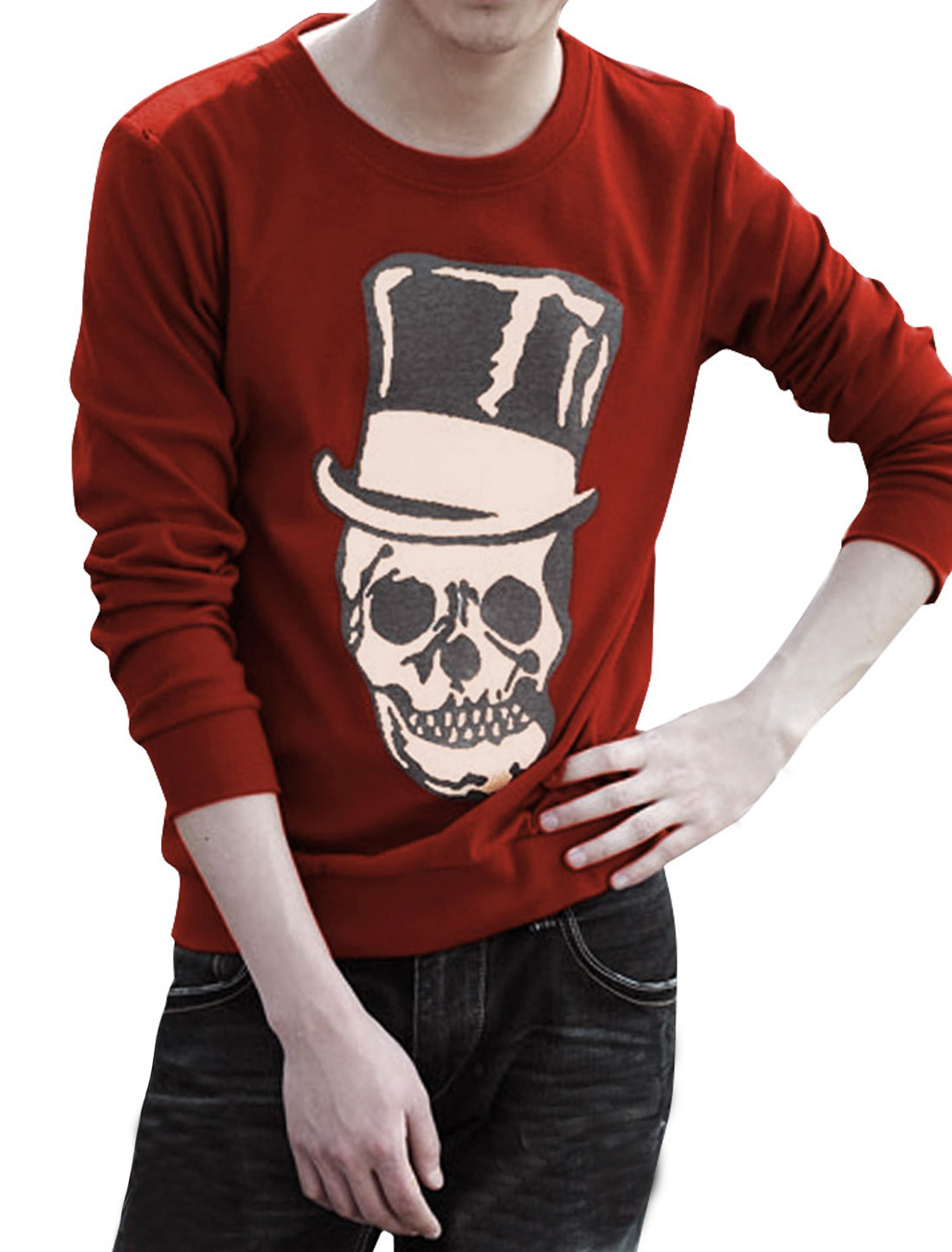 Men Casual Round Neck Long Sleeve Skull Pattern Stretchy Wine Red T-Shirt L