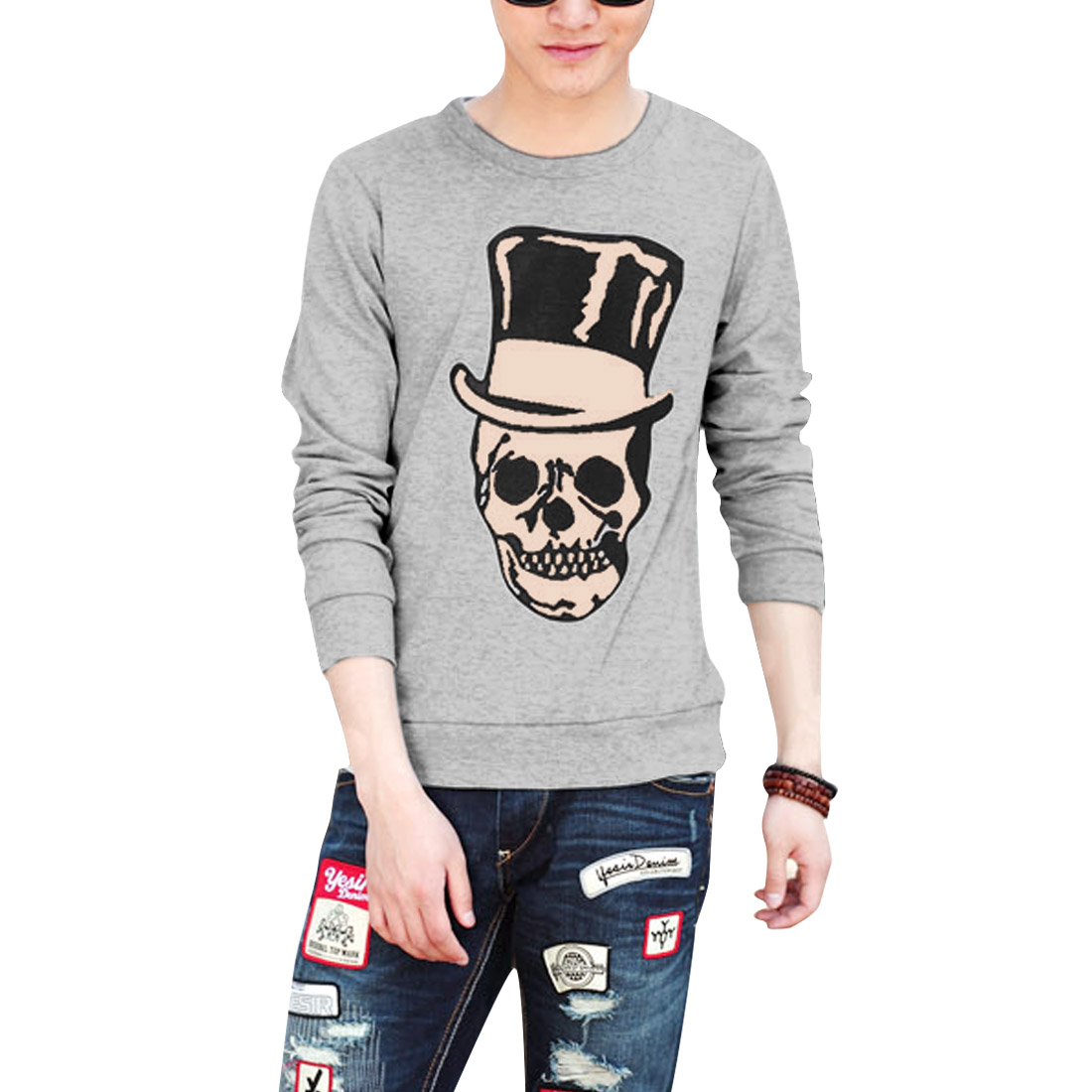 Men Round Neck Pullover Long Sleeve Leisure Soft Light Gray T-Shirt L