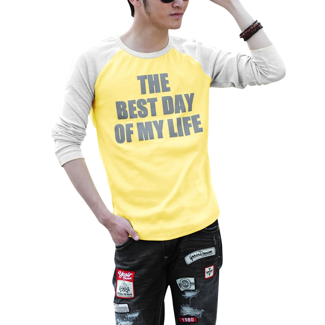 Men Pullover Stretchy Autumn T-shirt Light Yellow Light Gray M