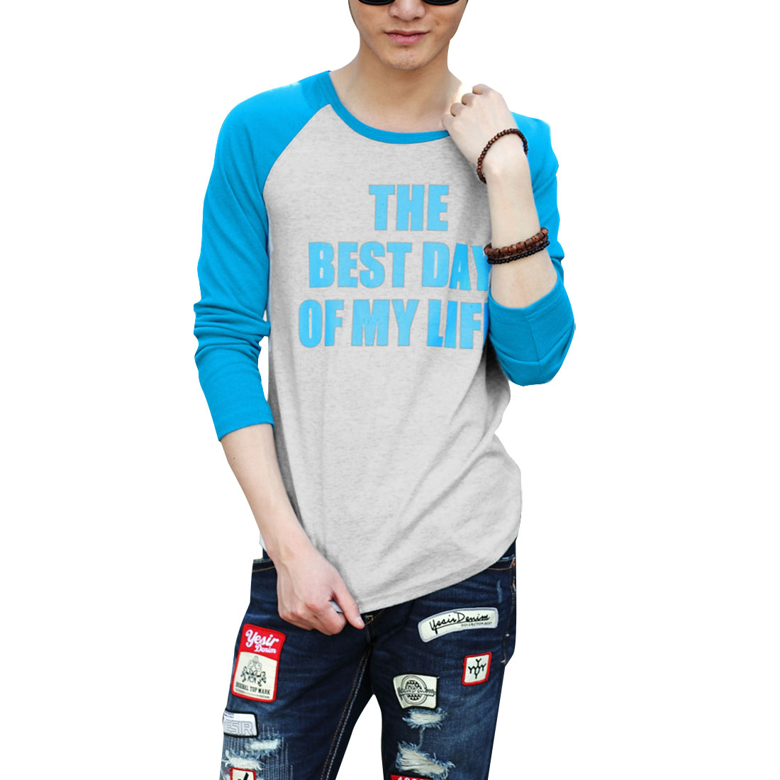Men Long Sleeve Autumn Wearing T-shirt Light Gray Turquoise M