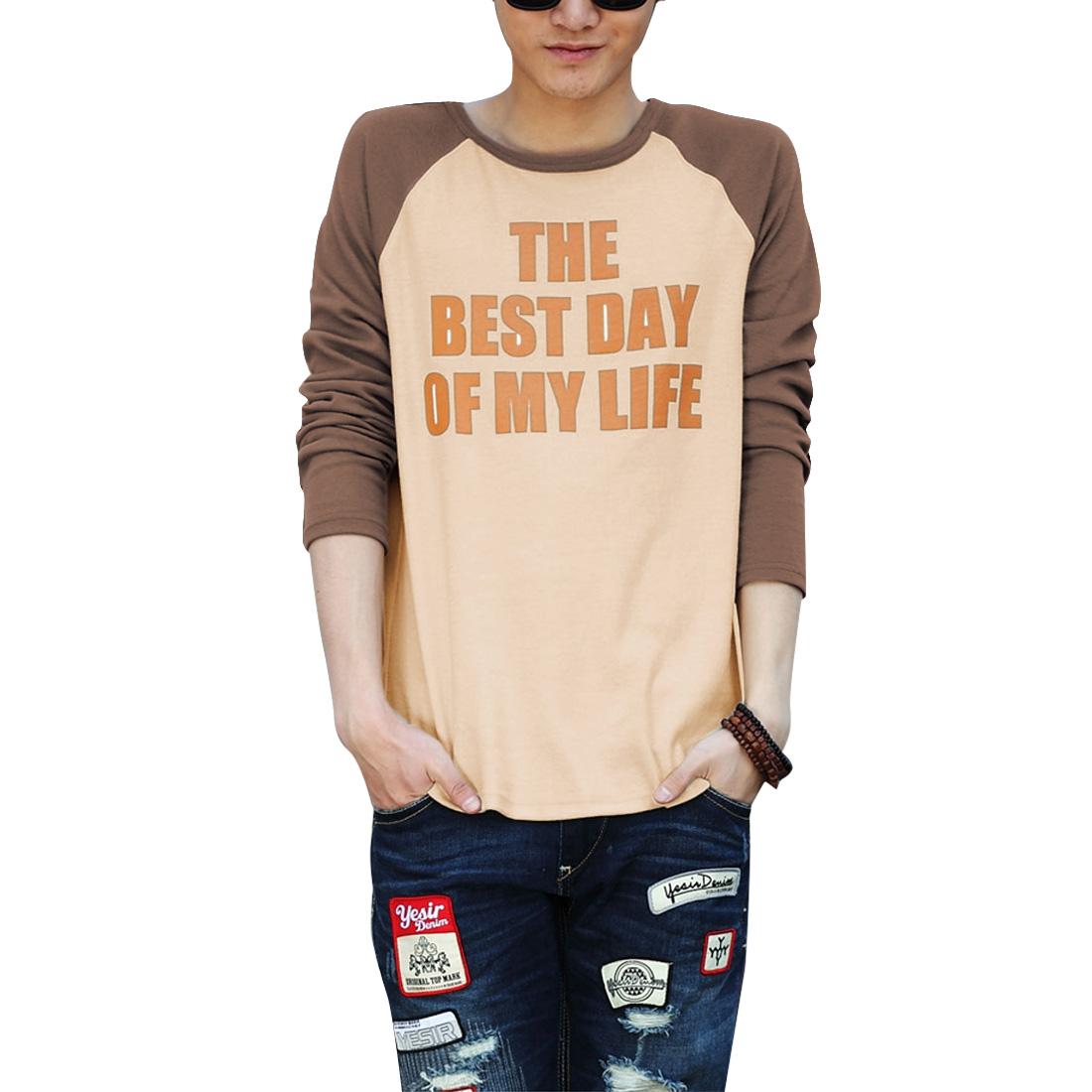 Men Raglan Sleeve Soft Fall Wearing T-shirt Beige Brown M