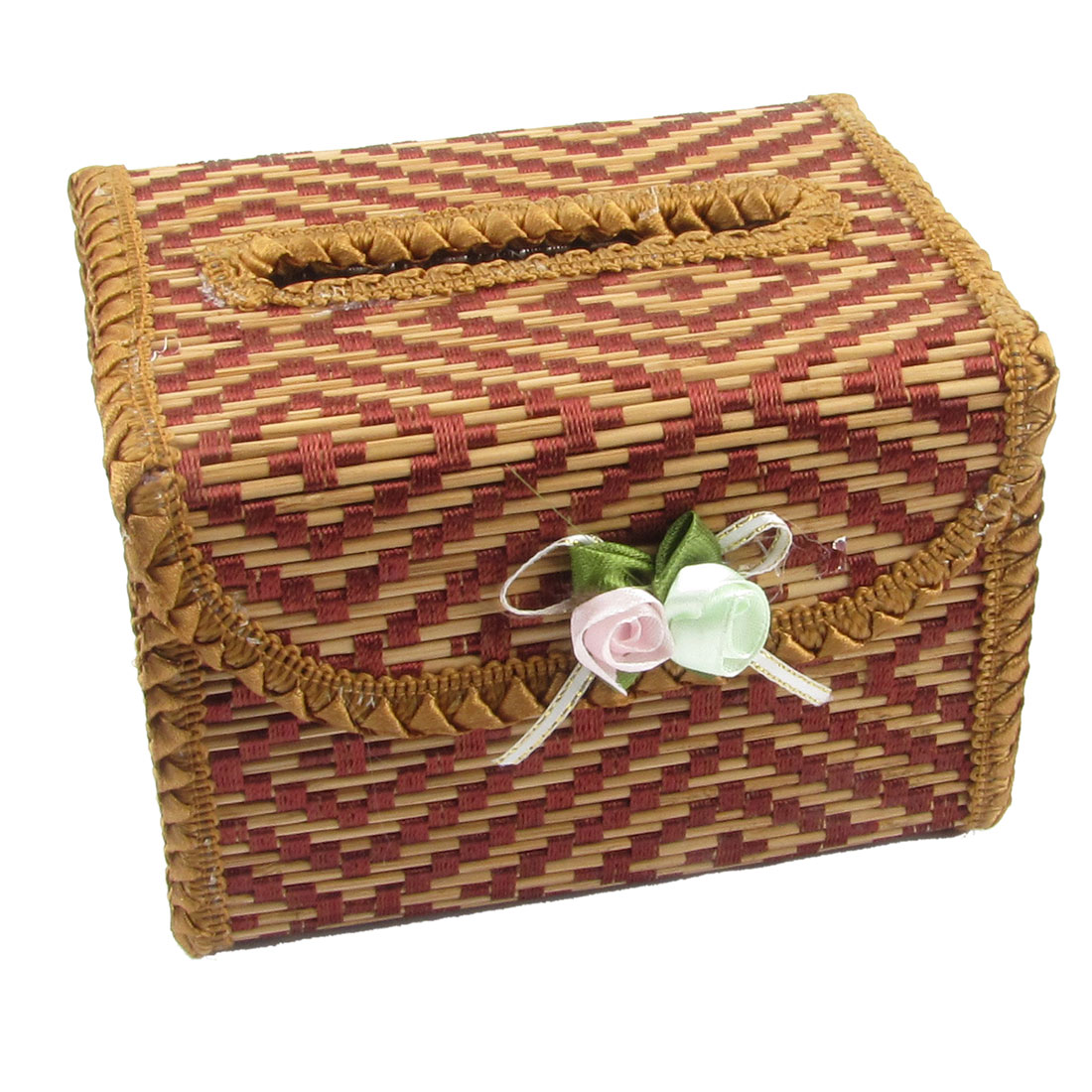 Home Flowers Decor Bamboo Rectangle Tissue Napkin Box Holder Brown