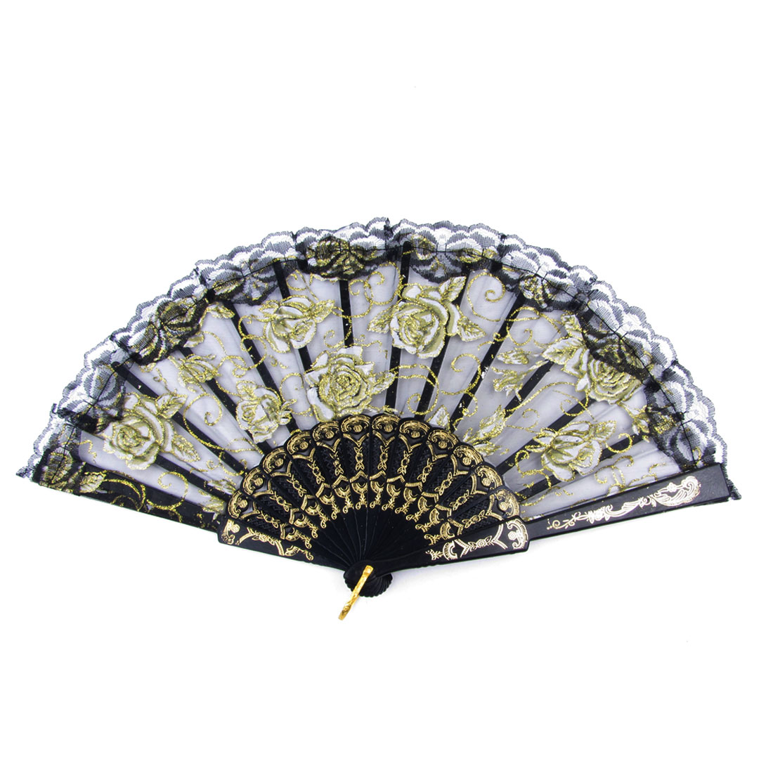 Plastic Frame Powder Accent Foldable Hand Fan Black White